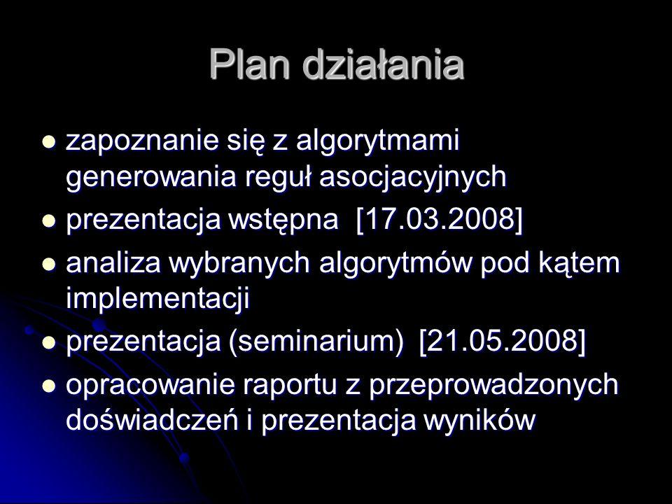 Plan działania zapoznanie się z algorytmami generowania reguł asocjacyjnych. prezentacja wstępna [17.03.2008]